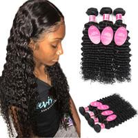 cabelo mix afro brasileiro venda por atacado-Atacado Mink Brasileira Onda Do Corpo Do Cabelo Virgem Reta Onda Profunda Molhado e Ondulado 3 ou 4 Pacotes 100% Extensões de Cabelo Humano Brasileiro