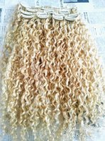 Wholesale curly human hair 613 for sale - Group buy Fashionable Brazilian Clip In Human Virgin Hair Extensions Remy Blonde Clip In Hair Extensions g One Set
