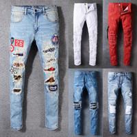 Wholesale Biker Designs - 2018 New arrival quality famous novelty design men jeans ripped stylish biker jeans rock style patchwork straight men's jeans hot sale