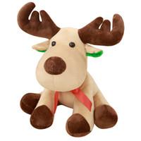 brinquedos de pelúcia de cervo venda por atacado-Alces de natal brinquedos De Pelúcia dos desenhos animados Xmas cervos De Pelúcia Animais 35 cm / 25 cm para o presente das crianças C5247