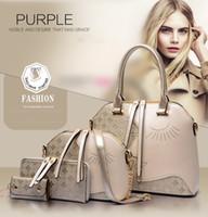 orange schwarze designerhandtasche großhandel-Designer-Handtasche 4PCS stellt die Tote-Schulter-Bürotaschen der Frauen, schwarze braune blaue goldene 4 Farben für Großverkauf ein