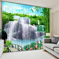 cortinas brancas de cachoeira venda por atacado-Cortinas brancas personalizar 3d cortinas Cachoeira paisagem da floresta cortinas de natal sala de estar moderna cortina da janela da cozinha