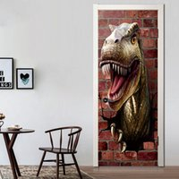 Wholesale Dinosaur Wall Decor For Kids - 2 pcs set 3D Animal Dinosaur Wall Stickers Home Decor DIY Door Art Large Removable Brick Wall Mural Vinyl Decals Poster