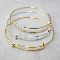 Wholesale Wholesale Gold Plated Charms - New fashion expandable wire bangle bracelets DIY jewelry pick size cable wire bangle adjustable charm love bracelet accessories wholesale