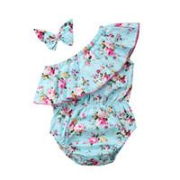roupa oblíqua venda por atacado-Bebê recém-nascido Meninas Wathet Floral Romper Oblíqua Ombro Bodysuit Macacão Sunsuit Com Headband Roupas Roupas Roupas de Bebê 3-18 M