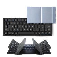 legierungstastatur großhandel-Faltbare Bluetooth-Tastatur Aluminiumlegierung drahtlose Tastatur mit tragbaren Taschenformat für iPad iPhone Samsung Tablets Smartphones