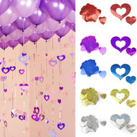 Wholesale Wedding Balloon Ribbon - 1500pcs lot Bling Shiny Heart Paperboard Cards Balloons Pendant Ribbon Wedding Balloon Decoration Party Supplies