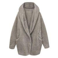 ingrosso donna trincea calda-2017 donna manica lunga oversize cappotto di pelliccia sintetica lana lavorato a maglia signore caldo cappotto di pelliccia di cachemire con cappuccio soffici giacca trench cappotti