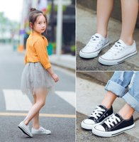 Wholesale sprots shoes resale online - Hot sell girls boys sneakers fashion children casual shoes kids lace up sprots shoes girls canvas running shoes A01308