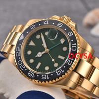 зеленая рамка автоматическая оптовых-Зеленая керамическая рамка Мужские часы Золотые автоматические A2813 Sports Master Reloj Gmt Luxury Watch Business Повседневная Дизайнерские наручные часы