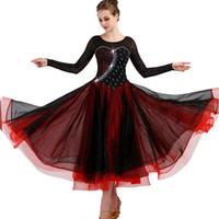 9617e16d47 2019 Nuevo vestido personalizado para bailes de salón negro rojo marino trajes  para mujeres corto   manga larga jazz   tango   vestido de baile Waltz ...