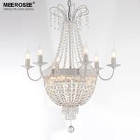 lustres brancos venda por atacado-Vintage Francês Império Lustre de Cristal Luminária de Iluminação de Cristal Do Vintage Ferro Forjado Branco Cromado cor Preta