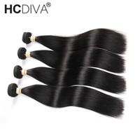 tejido peruano de 18 pulgadas al por mayor-HCDIVA 4 Bundles Deal Peruana Extensiones de Cabello Liso 10-32 Pulgadas Non Remy Human Bundles Hair Peruvian Hair Weave Bundles
