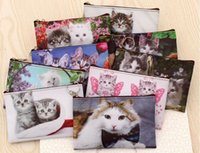 Wholesale korean leather hobo bags - Lovely Cats Lady Grils Change Coin purse waterproof makeup bag Clutch Wallet Card holder key Bag cosmetic bag