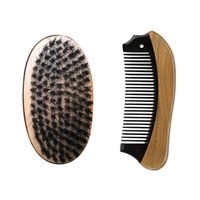 Wholesale Pocket Fishing Kit - Boar Bristle Hair Brush fish Pocket buffalo green sandalwood scarfing fine tooth lice Hair Comb Beard Grooming Kit Wholesale Fast Delivery