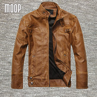 Wholesale jacket cuir men black - Black Brown retro PU leather jacket men autumn fleece lining motorcycle jacket coat chaqueta moto hombre veste cuir homme LT083