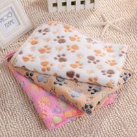 pfotenabdruck decke katze großhandel-Paw Print pet Blanket Puppy Blanket pet Schlafmatte weiche und warme Fleece Hund Katze Schlaf werfen Decken
