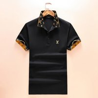 Wholesale men s plaid shorts - Brand new 2018 Summer Fashion Brand Men Short Sleeved Polo Shirts Cuffs Collar Geometric Pattern Letter Printing Medusa Casual Polo Shirts