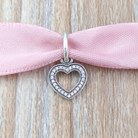 Wholesale wholesale sparkle jewelry - Authentic 925 Sterling Silver Beads Sparkling Heart Pendant Charm Fits European Pandora Style Jewelry Bracelets & Necklace 791304CZ
