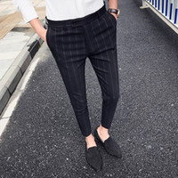 şebeke noktaları toptan satış-2018 yeni kişilik Japon ağ kırmızı eğilim İngiliz rüzgar stripes dokuz puan pantolon net kırmızı ince rahat pantolon