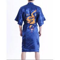 Wholesale navy blue silk kimono online - New Arrival Navy Blue Male Silk Robe Chinese Classic Embroidery Nightwear Traditional Kimono Gown Size S M L XL XXL XXXL