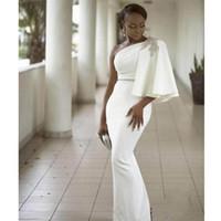 vestidos de noche elegantes únicos al por mayor-2019 Elegant White Mermaid Vestidos de noche One-Hombro Lentejuelas Unique Design Hasta el suelo Vestidos para ocasiones especiales Charming Prom Dresses