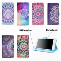 Wholesale Yellow Leather Paint - For iPhone 8 7 6S 6 Plus Floral Pattern Painted On PU Leather Cover Wallet Flip Case With Card Solt Holder Magnetic Strip Standing Function