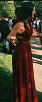 zwei stück prom kleider für teenager großhandel-Herrliches Rot 2 Stücke Abschlussball kleidet langes reizvolles Abend-Kleid-Chiffon- zweiteiliges formales Kleid für Teenager
