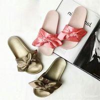 Wholesale Leather Sandals For Ladies - 2017 Shoes slippers Mix colors for women With Box Dust bag 2017 Fashion ladies summer bowtie Slide Sandals flip flop xz161