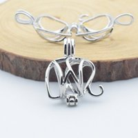 Wholesale Elephant Locket Pendant - Essential oil diffuser provides silver-plated, elephant, pearl cage pendant 10pc- plus your own pearl, stone makes it more attractive