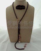 ingrosso collane di perle di granato-N071113 Collana lunga 39 '' granato in granato color perla CZ