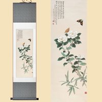Wholesale Flower Watercolor Paintings - Chinese Silk Watercolor Ink Wash Flower White camellia butterfly Feng Shui art wall picture damask framed scroll canvas painting