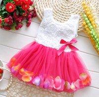 vestido de uma peça de flor venda por atacado-Roupas de bebê Princesa meninas vestido de flores 3D rosa flor criança crianças dot bowknot vestido tutu bebê meninas flor vestido de bolha de uma peça