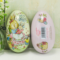 Wholesale easter candy tin - Personality Tin Box High Hardness Egg Shape Candy Storage Boxes For Easter Day Decoration Organizer New Arrival 2 3im B