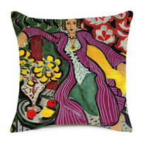 ingrosso dipinti ad olio arte decorativa-Henri Matisse Oil Paintings Covers Covers Donna con un cappello The Open Window Art Cuscino decorativo Federa di lino