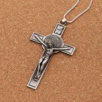crucifixo de jóias venda por atacado-Jóias quentes São Bento Medalha Católica Crucifixo Oração Da Bíblia Cruz Pingente de Colar de Homens Cadeia 24 polegadas N1783