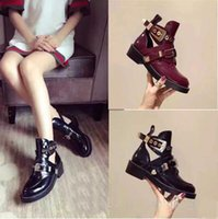 Wholesale red star belt buckle - Star style short boots women 100% leather belt buckle motorcycle hollow boots Casual Shoes