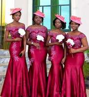Wholesale Hot Arabic Wedding Dresses - Hot South African Mermaid Bridesmaid Dresses Off Shoulder Plus Size Arabic Wedding Guest Dress Cap Sleeves Vintage Lace Bridesmaids Gowns