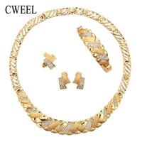 имитационные колье оптовых-CWEEL Women Jewelry Sets Party Imitation Crystal African Beads Wedding Bridal Luxury Plant Maxi Choker Necklace Collar