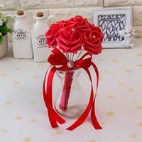 accessoires de bouquet de la main de la mariée achat en gros de-2019 Artificielle Vintage Bouquets De Mariage Pour La Mariée Soie Main Tenant Des Fleurs À La Main De Mariage Bouquet De Mariée Accessoires Rose CPA1560