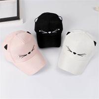Wholesale pink women cowboy hats online - Fashion Women Snapback Popular Cat Embroidery Baseball Cap Lady New Hip Hop Designer Hats Pink High Quality zy WW