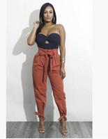moda casual corset al por mayor-2018 primavera moda mujer nuevo color sólido vendaje arco cintura alta suelta salvaje casual pantalones corsé lápiz pantalones pies pantalones