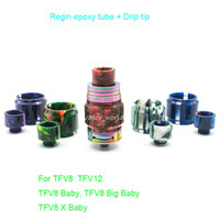 Wholesale Beautiful Bulbs - Beautiful Resin Bulb Glass Plus Drip Tip Kit Replacement for TFV8 Big Baby X Baby TFV12 Prince TFV8 Reload CP RTA atomizer tank