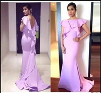 Wholesale formal pink shirt design online - Simple Mermaid Long Evening Dresses With Ruffles Sexy Backless Sweep Train For Women Designed Formal Party Prom Dresses