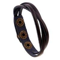 Wholesale leather cuff bracelet accessories online - Leather Wrap Braided Cuff Punk Men Women Bracelet Wristband Bangle Handmade Wristlet Popular Jewelry Accessories Bracelets Cheap