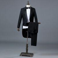 ingrosso inghilterra groom tuxedos-Inghilterra Gentleman due pezzi nero bianco sposo smoking da sposa economici abiti per uomo classico coda cappotto con pantaloni slim fit