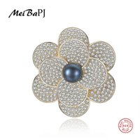 real flower brooches NZ - [MeibaPJ]Luxourious Real Natural Pearl Flower Brooch S925 Solid Silver Breastpin Fine Jewelry For women