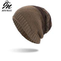 ingrosso cappello del cappello di joymay-Joymay 2018 a due vie indossando berretti invernali cappello disordinato colore unisex pianura caldo morbido cranio maglia cappelli cappelli all'ingrosso WM088