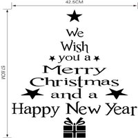 Wholesale christmas window art online - We Wish You A Merry Christmas and A Happy New Year Tree Decals Vinyl Removable D Wall Sticker For Home Christmas Wall Windows Stickers
