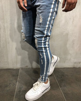 pantalones de mezclilla a rayas al por mayor-Lado rayado azul rasgado dril de algodón pantalones largos pantalones lavados DISTRESSED motorista refrescan los pantalones vaqueros para hombre delgado High Street
